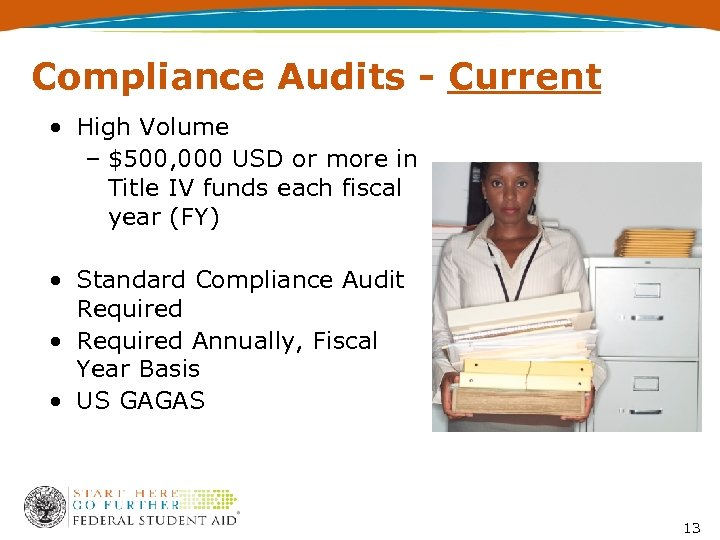 Compliance Audits - Current • High Volume – $500, 000 USD or more in