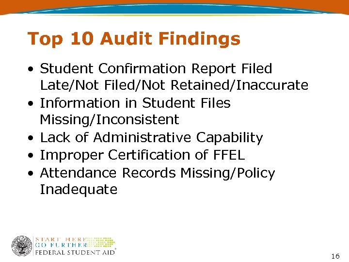 Top 10 Audit Findings • Student Confirmation Report Filed Late/Not Filed/Not Retained/Inaccurate • Information