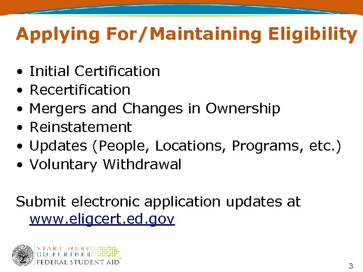 Applying For/Maintaining Eligibility • • • Initial Certification Recertification Mergers and Changes in Ownership