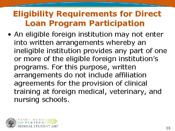 Eligibility Requirements for Direct Loan Program Participation • An eligible foreign institution may not