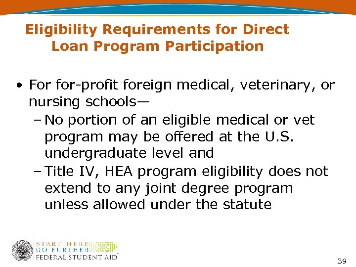 Eligibility Requirements for Direct Loan Program Participation • For for-profit foreign medical, veterinary, or