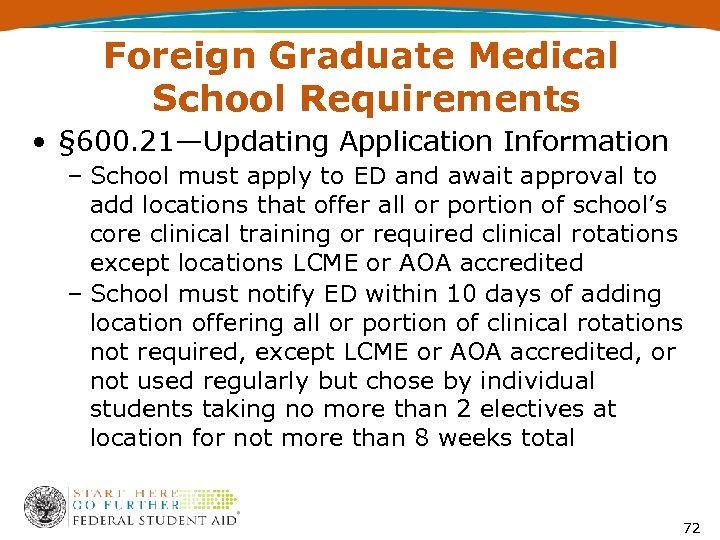 Foreign Graduate Medical School Requirements • § 600. 21—Updating Application Information – School must