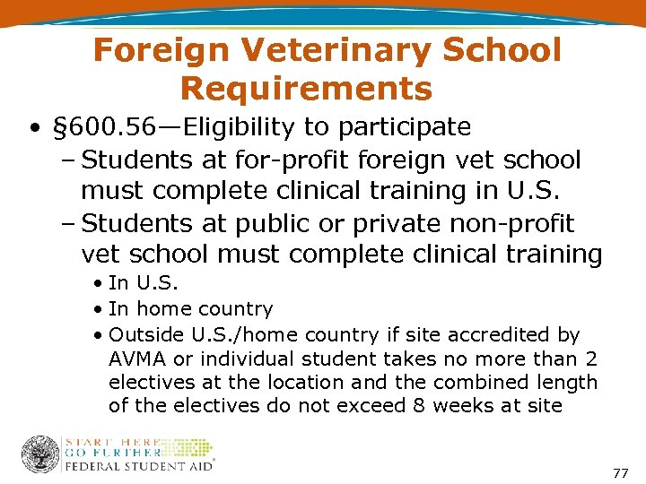 Foreign Veterinary School Requirements • § 600. 56—Eligibility to participate – Students at for-profit