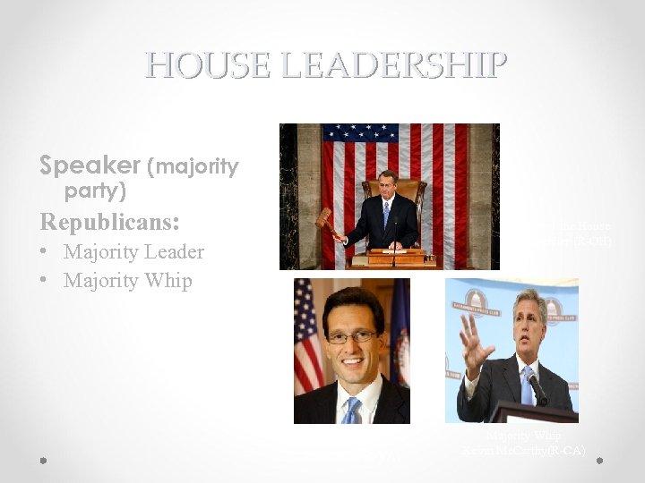 HOUSE LEADERSHIP Speaker (majority party) Republicans: Speaker of the House John Boehner (R-OH) •