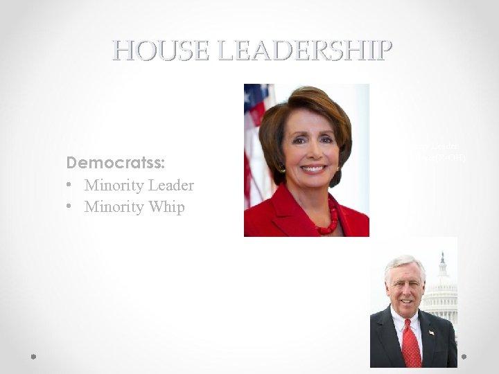 HOUSE LEADERSHIP Minority Leader Steny Hoyer(R-OH) Democratss: • Minority Leader • Minority Whip Steny