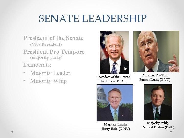 SENATE LEADERSHIP President of the Senate (Vice President) President Pro Tempore (majority party) Democrats:
