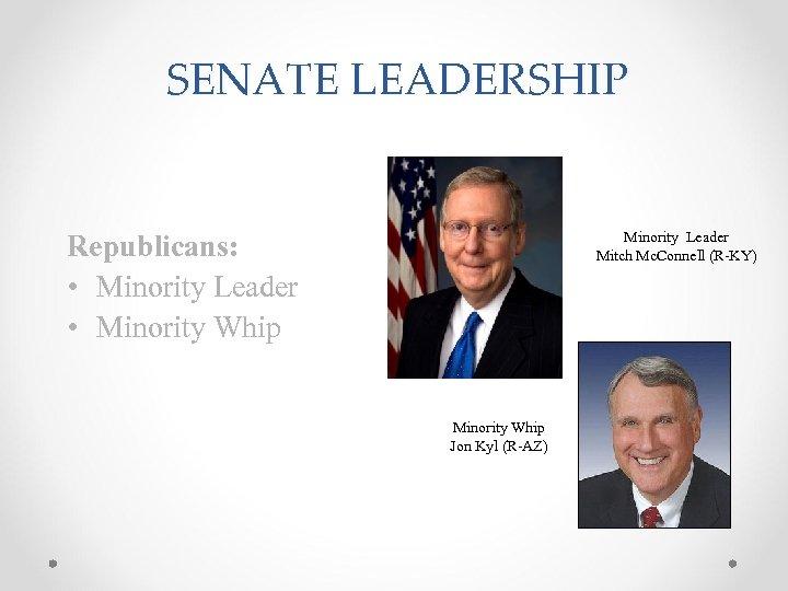 SENATE LEADERSHIP Minority Leader Mitch Mc. Connell (R-KY) Republicans: • Minority Leader • Minority