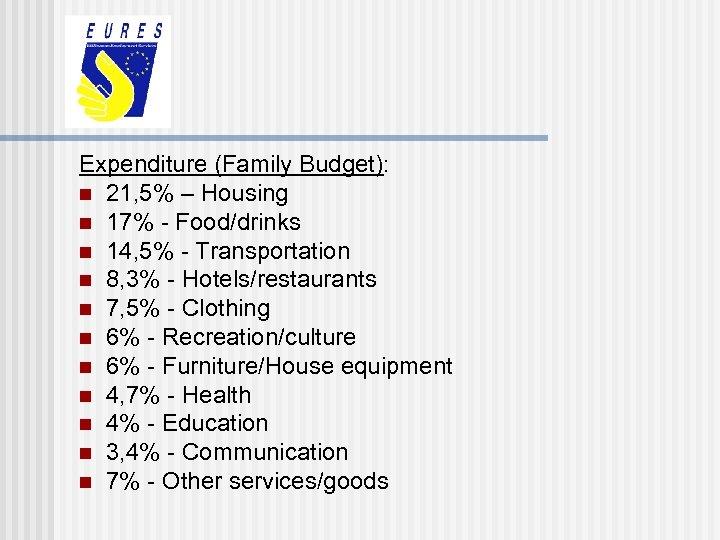 Expenditure (Family Budget): n 21, 5% – Housing n 17% - Food/drinks n 14,