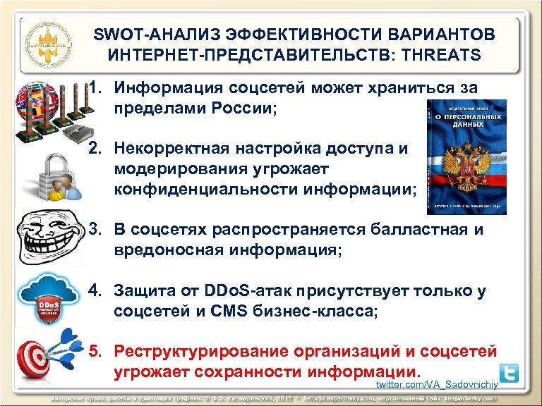 SWOT-АНАЛИЗ ЭФФЕКТИВНОСТИ ВАРИАНТОВ ИНТЕРНЕТ-ПРЕДСТАВИТЕЛЬСТВ: THREATS 1. Информация соцсетей может храниться за пределами России; 2.