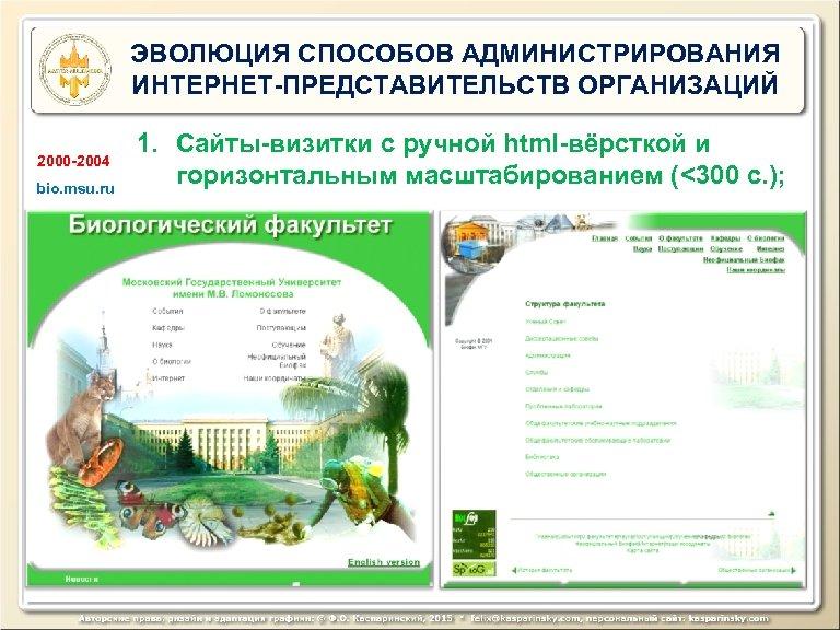 ЭВОЛЮЦИЯ СПОСОБОВ АДМИНИСТРИРОВАНИЯ ИНТЕРНЕТ-ПРЕДСТАВИТЕЛЬСТВ ОРГАНИЗАЦИЙ 2000 -2004 bio. msu. ru 1. Сайты-визитки с ручной