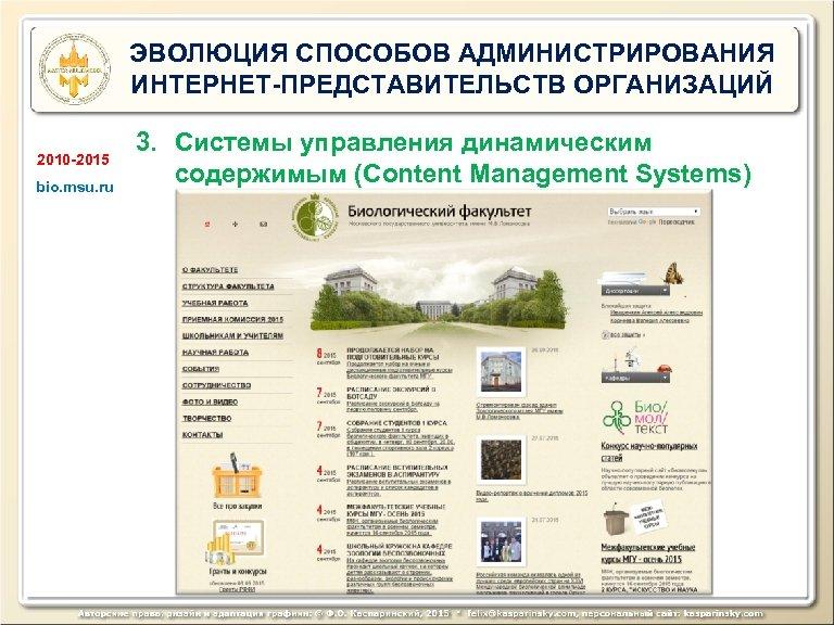 ЭВОЛЮЦИЯ СПОСОБОВ АДМИНИСТРИРОВАНИЯ ИНТЕРНЕТ-ПРЕДСТАВИТЕЛЬСТВ ОРГАНИЗАЦИЙ 2010 -2015 bio. msu. ru 3. Системы управления динамическим