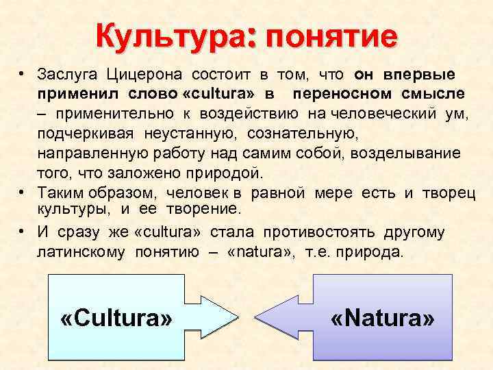 Культура: понятие • Заслуга Цицерона состоит в том, что он впервые применил слово «cultura»