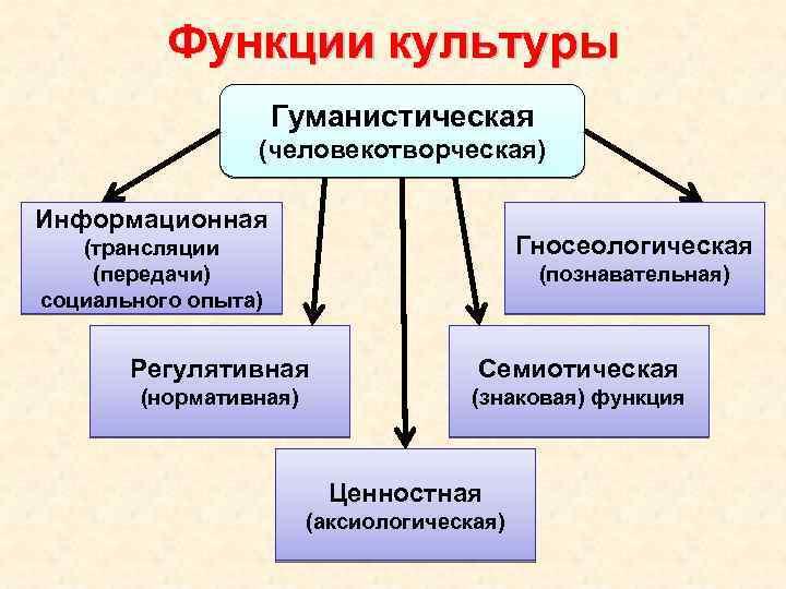 Функции культуры Гуманистическая (человекотворческая) Информационная Гносеологическая (трансляции (передачи) социального опыта) (познавательная) Регулятивная Семиотическая (нормативная)