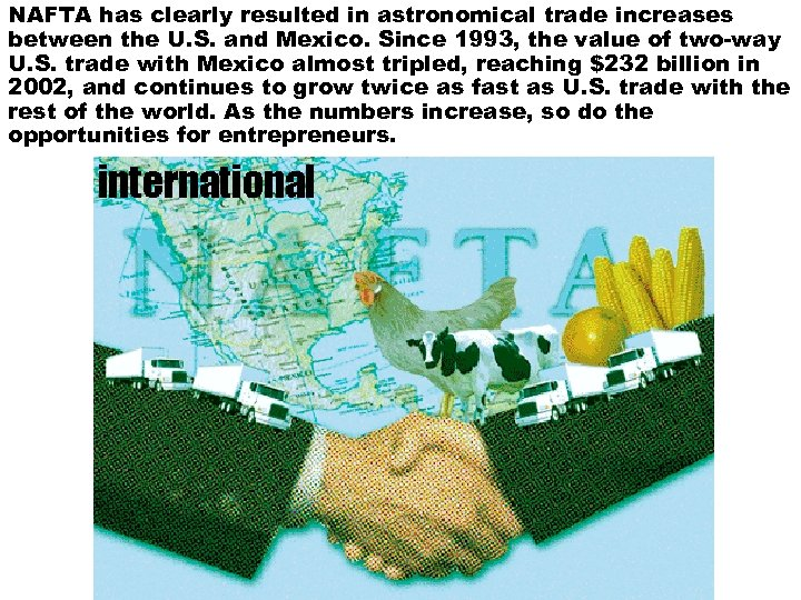 NAFTA has clearly resulted in astronomical trade increases between the U. S. and Mexico.