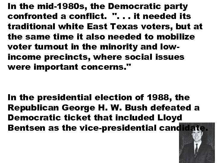 In the mid-1980 s, the Democratic party confronted a conflict.