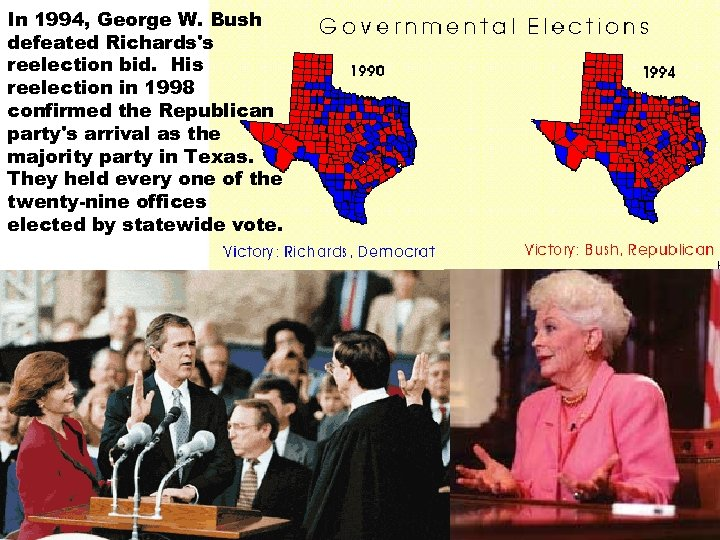 In 1994, George W. Bush defeated Richards's reelection bid. His reelection in 1998 confirmed