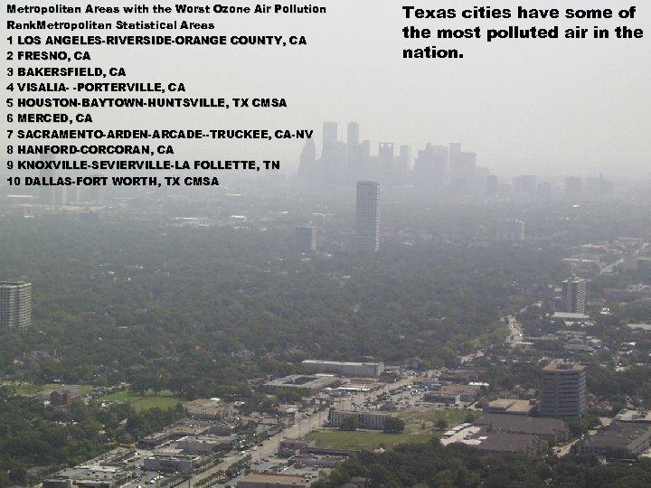 Metropolitan Areas with the Worst Ozone Air Pollution Rank. Metropolitan Statistical Areas 1 LOS