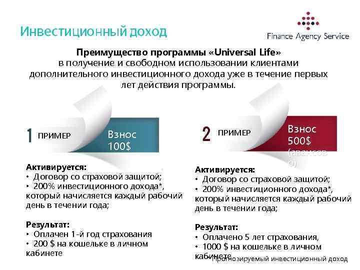Преимущество программы «Universal Life» в получение и свободном использовании клиентами дополнительного инвестиционного дохода уже