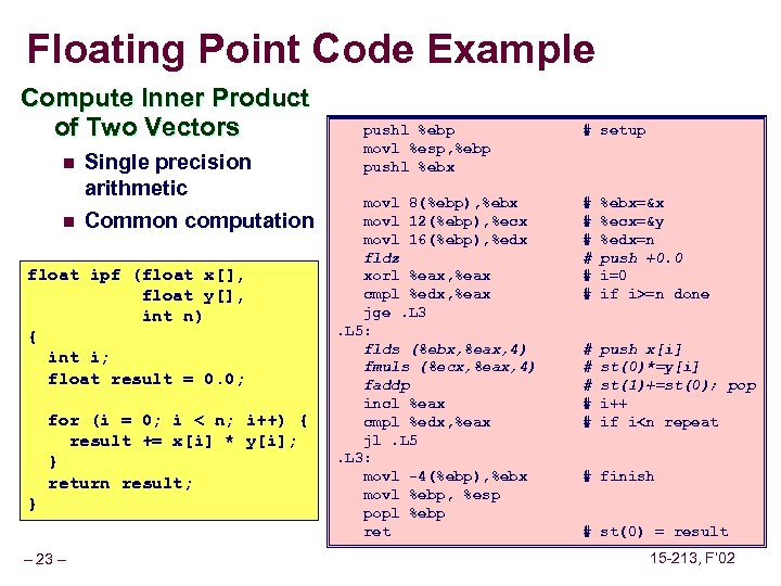Floating Point Code Example Compute Inner Product of Two Vectors n n Single precision