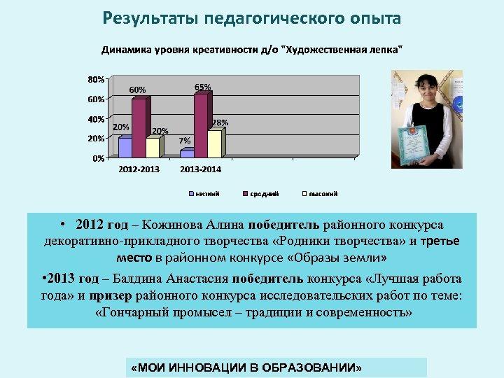 Результаты педагогического опыта • 2012 год – Кожинова Алина победитель районного конкурса декоративно-прикладного творчества