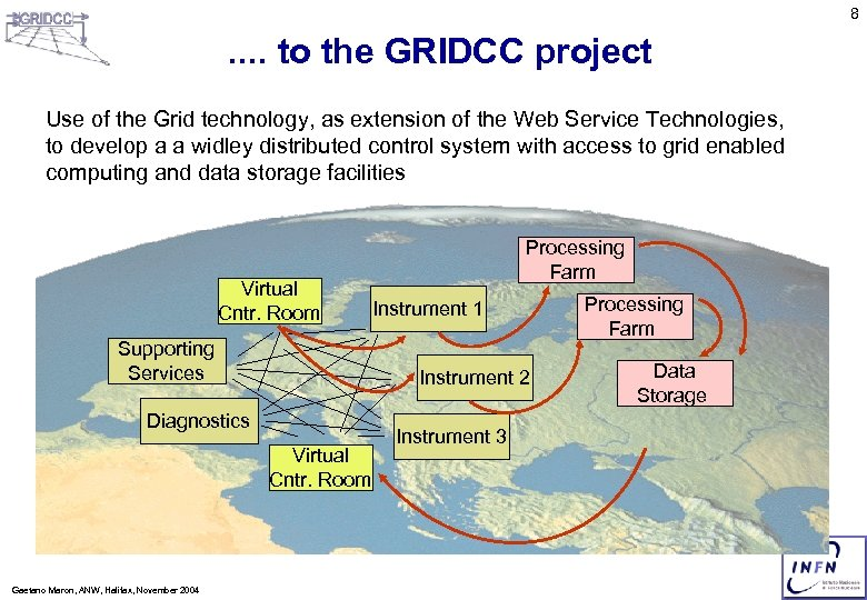 8 . . to the GRIDCC project Use of the Grid technology, as extension