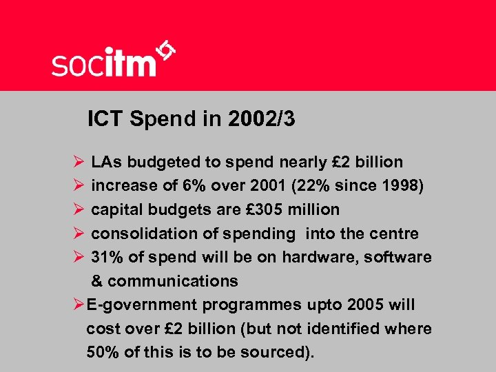 ICT Spend in 2002/3 Ø LAs budgeted to spend nearly £ 2 billion Ø