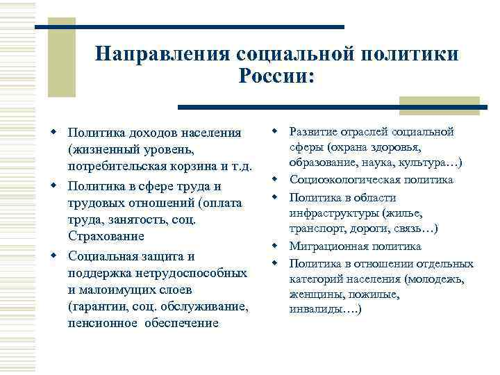 Направления социальной политики России: w Политика доходов населения (жизненный уровень, потребительская корзина и т.