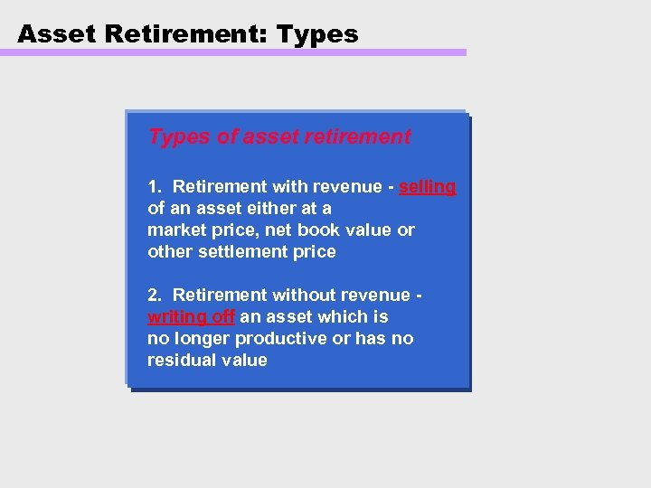 Asset Retirement: Types of asset retirement 1. Retirement with revenue - selling of an