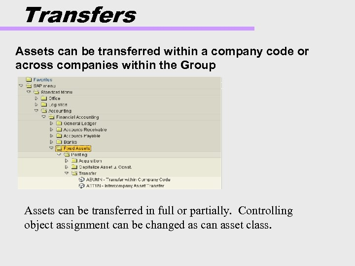 Transfers Assets can be transferred within a company code or across companies within the