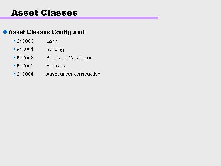 Asset Classes u. Asset Classes Configured § 910000 Land § 910001 Building § 910002