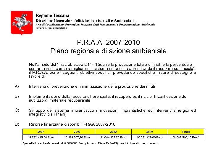 """P. R. A. A. 2007 -2010 Piano regionale di azione ambientale Nell'ambito del """"macrobiettivo"""