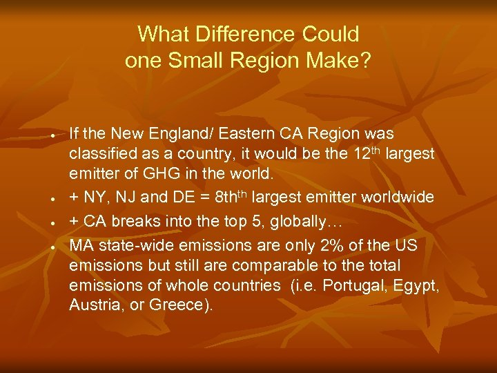 What Difference Could one Small Region Make? · · If the New England/ Eastern