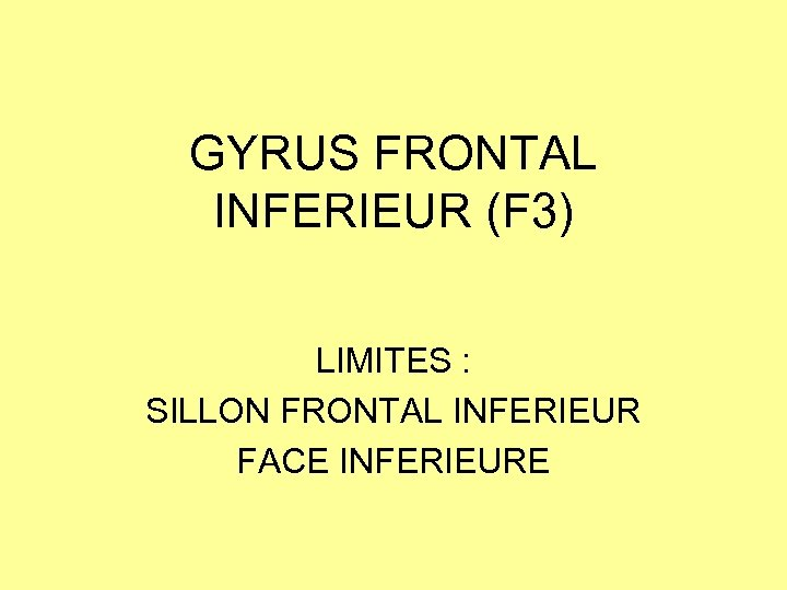 GYRUS FRONTAL INFERIEUR (F 3) LIMITES : SILLON FRONTAL INFERIEUR FACE INFERIEURE