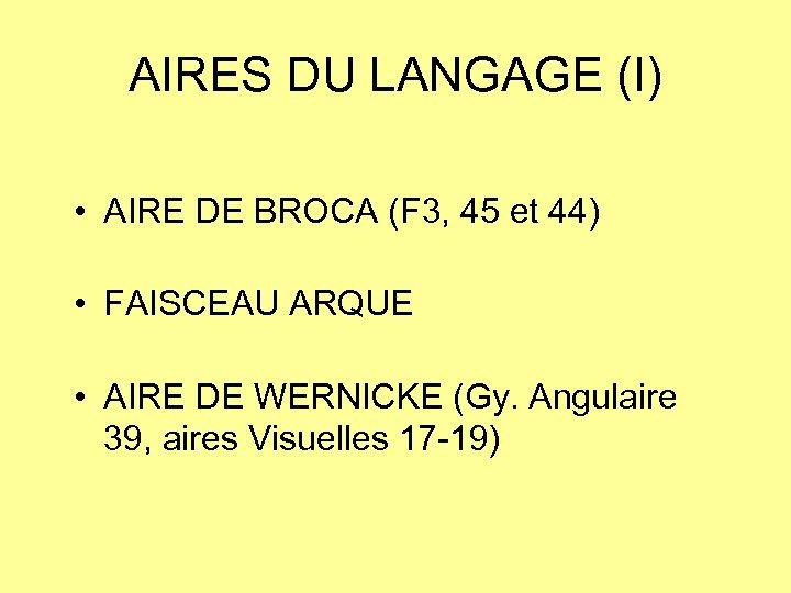 AIRES DU LANGAGE (I) • AIRE DE BROCA (F 3, 45 et 44) •