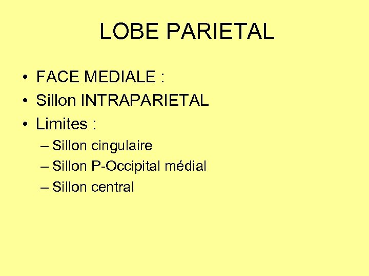 LOBE PARIETAL • FACE MEDIALE : • Sillon INTRAPARIETAL • Limites : – Sillon