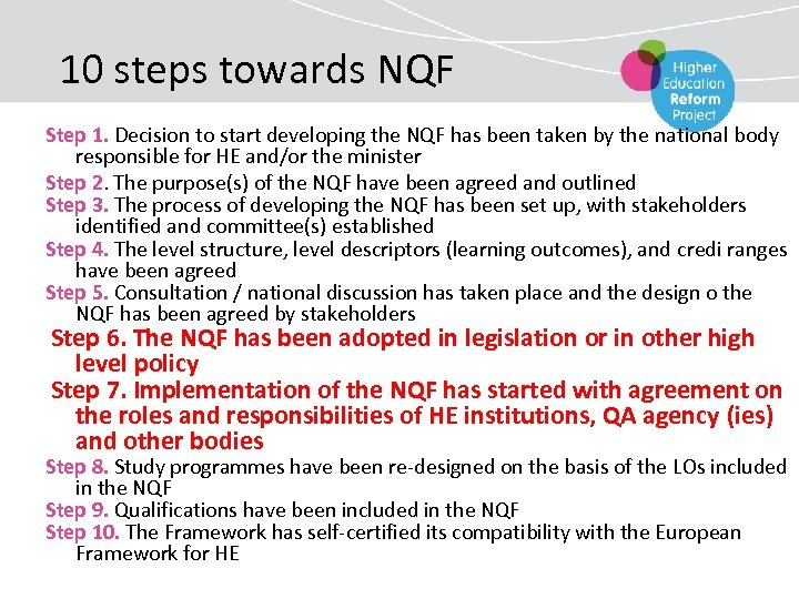 10 steps towards NQF Step 1. Decision to start developing the NQF has been