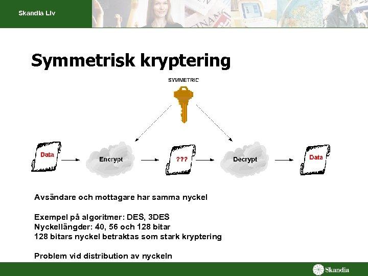 Skandia Liv Symmetrisk kryptering Avsändare och mottagare har samma nyckel Exempel på algoritmer: DES,