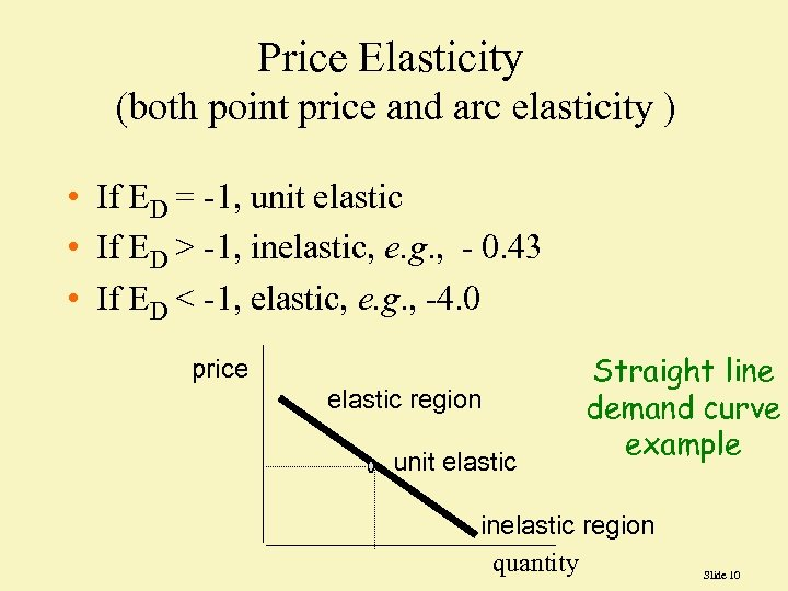 Price Elasticity (both point price and arc elasticity ) • If ED = -1,