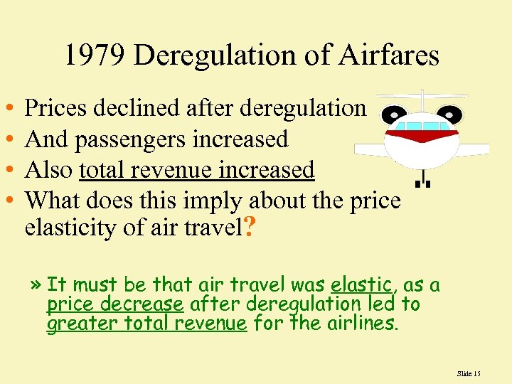 1979 Deregulation of Airfares • • Prices declined after deregulation And passengers increased Also