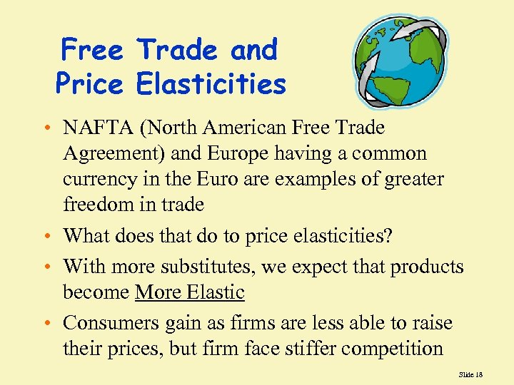 Free Trade and Price Elasticities • NAFTA (North American Free Trade Agreement) and Europe