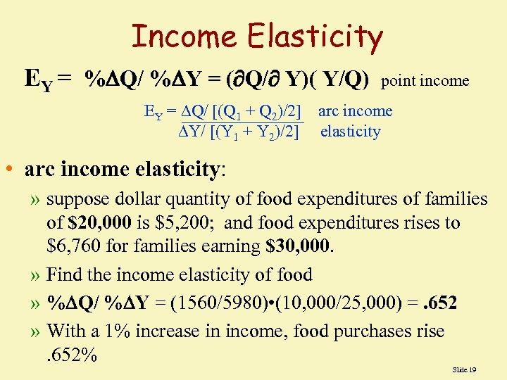 Income Elasticity EY = % Q/ % Y = ( Q/ Y)( Y/Q) point