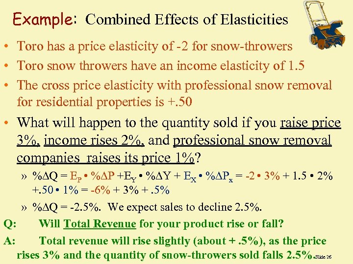 Example: Combined Effects of Elasticities • Toro has a price elasticity of -2 for