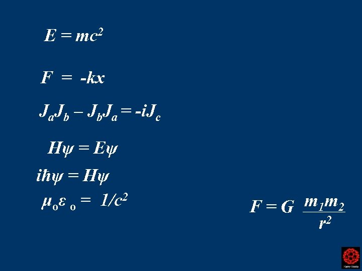 E = mc 2 F = -kx Ja. Jb – Jb. Ja = -i.