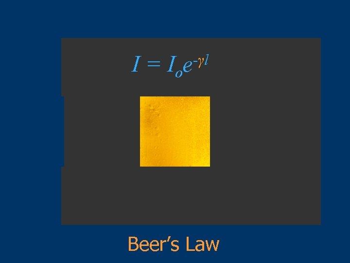 I = Ioe-γl Beer's Law
