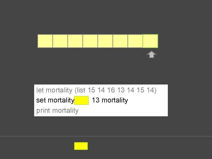 let mortality (list 15 14 16 13 14 15 14) set mortality lput 13