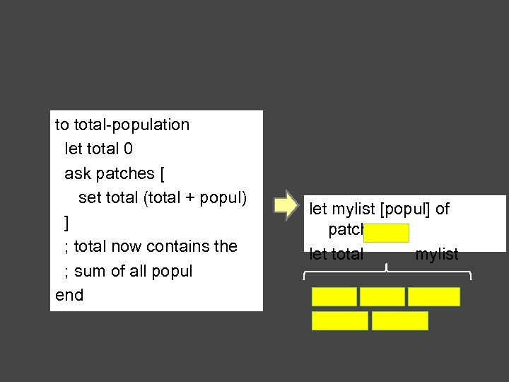 to total-population let total 0 ask patches [ set total (total + popul) ]