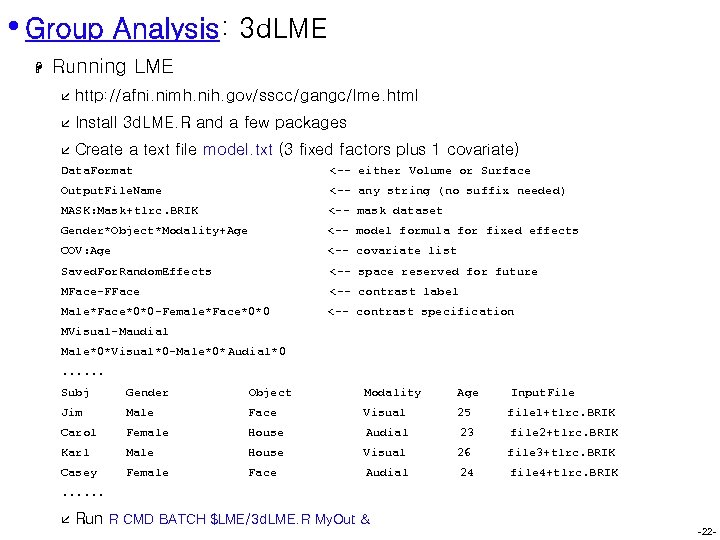 • Group Analysis: 3 d. LME H Running LME å http: //afni. nimh.