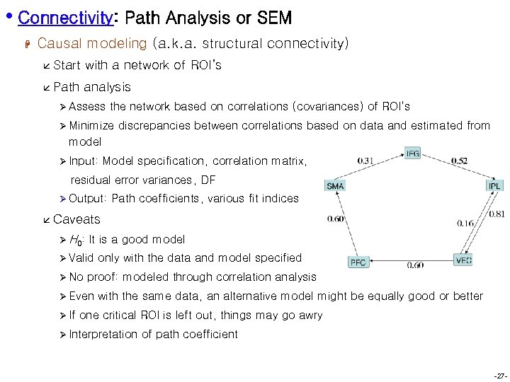 • Connectivity: Path Analysis or SEM H Causal modeling (a. k. a. structural