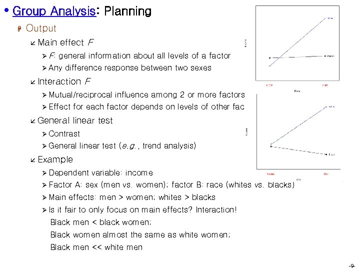 • Group Analysis: Planning H Output å Main Ø F: effect F general
