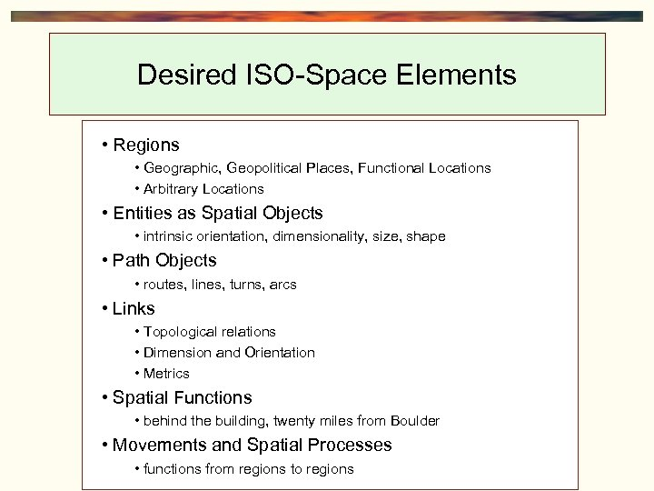 Desired ISO-Space Elements • Regions • Geographic, Geopolitical Places, Functional Locations • Arbitrary Locations